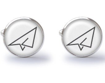 Paper Airplane Cufflinks - Plane Cufflinks - Paper Cuff Links - Airplane Cufflink (Pair) Lifetime Guarantee (S0310)