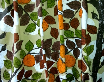 Beautiful vintage fabric drapery designed by Saini Salonen motif with tree,fruits and leaves  for Borås Sweden Scandinavia 1960s.