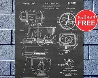 Patent Evolution - Kitchen Mixer, Vector Blueprint Patent Prints Posters, Kitchen Art, KitchenAid Mixer, Mixing Tool  (#029)