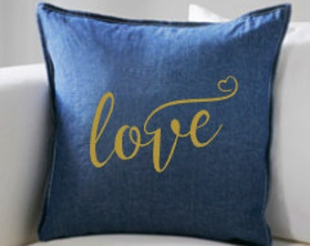 LOVE Custom Pillow Cover, Accent Pillow Cover, Throw Pillow Cover, Toss Pillow Cover, Whimsical Living Room, Family Room, Den, Bedroom Decor