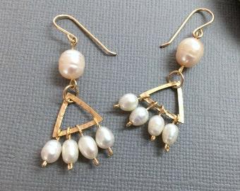 Gold Pearl Earrings, Drop Earrings, Bridal Dangle Earrings, Pearl Bridesmaid Earrings, Pearl Cluster Earrings, Freshwater Pearl Earrings