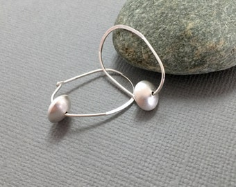 Sterling silver hoops, Silver bead hoop earrings, Bridesmaids earrings, Sterling silver hoop earrings, Large silver hoop earrings