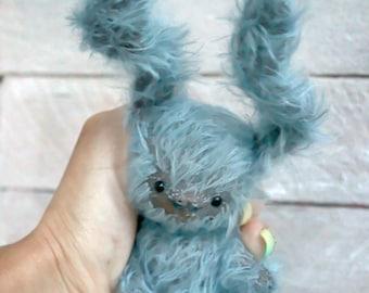 """Stuffed bunny.""""Curly"""".Bunny. Stuffed rabbit.Rabbit.Teddy Bear.Vintage teddy.Old teddy.Torture teddy.Artist teddy.Teddy"""