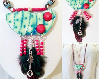 Handmade necklace style Boho-ethnic and color uneven/Handmade necklace boho-navajo, unique design