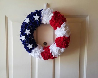 Red, White and Blue Felt Wreath