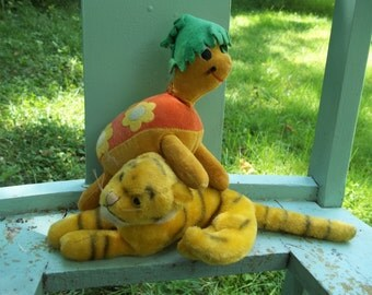 1960's Dakin Dream pets Tiger & Turtle Stuffed Toys