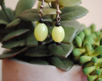 Handmade Green Dangle Earrings With Glass Beads