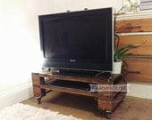 Reclaimed Timber TV Stand Media Unit TELEALUS in Dark Oak  with edgy Castor Wheels