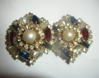 Large Vintage Hobe Rhinestone Clip Earrings