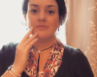 N-0136 - Georgian Maria Ribbon Necklace - Georgian Crystal - Georgian Necklace - 18th Century necklace