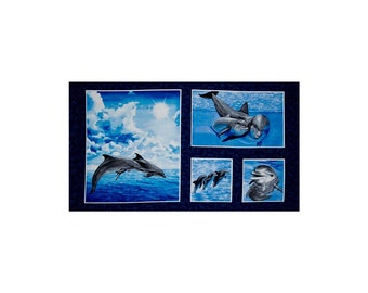 "New!  Make A Splash 24""  Dolphin Multi 100% Cotton Quilt Panel"