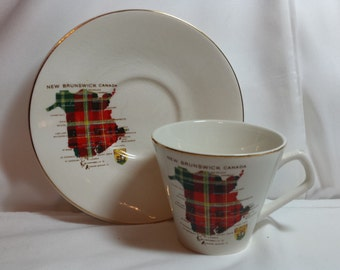 New Brunswick Tartan tea cup & saucer, Lord Nelson England, map of New Brunswick, Canada