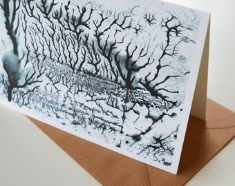 Watercolor art card with envelope, folded greeting card, black and white stationery, landscape