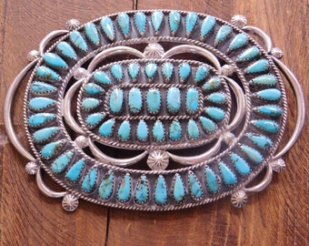 Vintage Navajo Sterling Silver and Turquoise Cluster Pin
