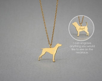 14K Solid GOLD Tiny GERMAN Shorthaired POINTER  Name Necklace - Pointer Necklace - Gold Dog - 14K Gold or Rose Plated on 14k Gold Necklace
