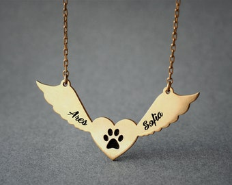 Personalized TWO NAMES Winged Heart Paw Necklace / Angle Paw Necklace / Name Necklace / Silver, Gold Plated or Rose Plated.