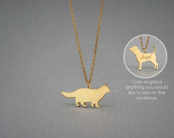 14K Solid GOLD Tiny LONGHAIRED CAT Name Necklace - Gold Cat Necklace - Gold Dog Necklace - 14K Gold or Rose Plated on 14k Gold Necklace