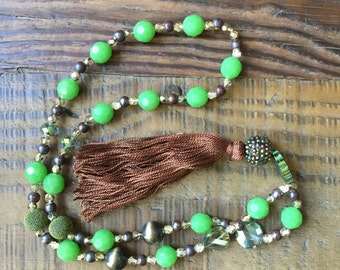 Greens and Golds Beaded Necklace with Tassel