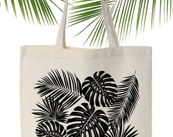 Tropical screen printed canvas tote bag,Original ANJESY designs.