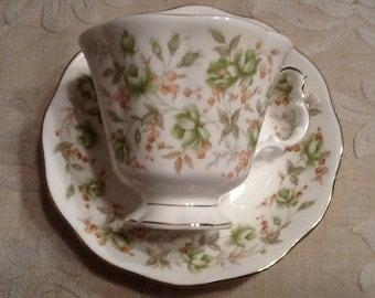 Vintage Royal Albert Green Velvet England Bone China Tea Cup and Saucer- Beautiful!