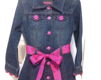 Pink and purple trimmed denim dress, girl's Size 5