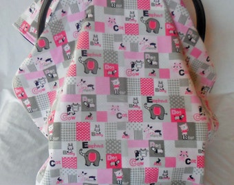 Nursery animals in pinks & grays baby car seat cover/canopy