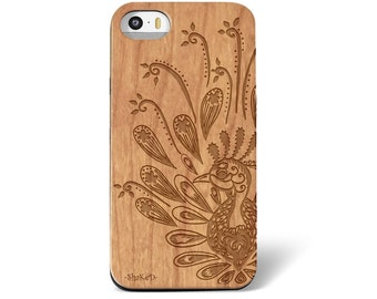 Laser Engraved Zentangle Doodle Inspired Paisley Peacock on Genuine Wood phone Case for iPhone 5s, 6 and 6 plus IP-050