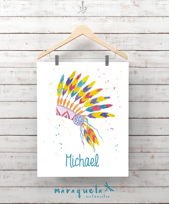Custom INDIAN Feather for Boy Little Chief Illustration WATERCOLOR name tribal nursery baby, HEADDRESS boy room, art wall. Customized name
