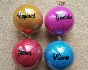 Personalised Childrens Adults Glitter Baubles  Christmas Tree decorations Or Keepsakes - Large - Any Colour