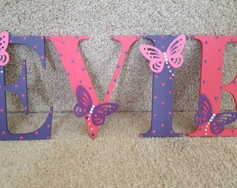 Handmade Personalised Girls Boys Door Wall Sign Plaque Letter With butterflies  Rhinestones Pink Purple Any Colour - Babies Bedroom Nursery