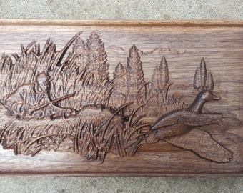 American Black Walnut Wooden 3D Engraving Relief Hunting Ducks Hunter Art Picture Farming Wall Art Framed