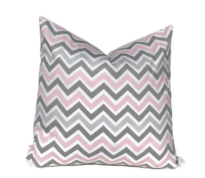 Pink And Grey Decorative Pillows : Pink and Grey Pillow Cover Pink and Grey Chevron