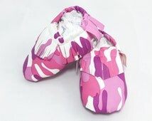 Leather Moccs; Baby Shoes; Camo Shoes: Leather Baby Moccasins; Matte Leather