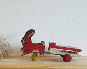 Antique Red & White Wood Rabbit Pulling Wagon Pull Toy Vintage Children's Toys Retro Bunny