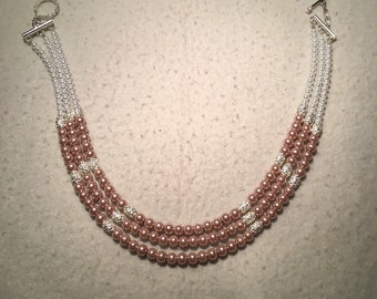 Triple stranded beaded pearl necklace