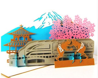3D Japanese Fuji Theme 3D Pop out Greeting Card