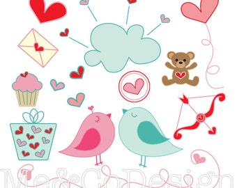 Lovey Dovey Clipart, Fun Cute Clipart, Romantic, Instant Download, Personal and Commercial Use Clipart, Digital Clip Art