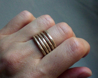 Gold adjustable ring // wide band ring // Gold statement jewelry