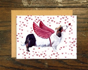 Wiener Dog Cupid Greeting Card