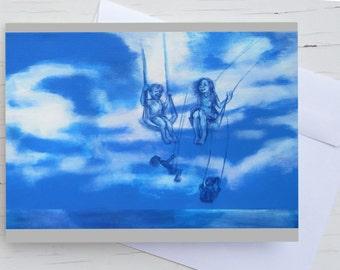 Greeting card:swinging, swinging children in the cloudy sky, blu postcard, dream, clouds, birthday card
