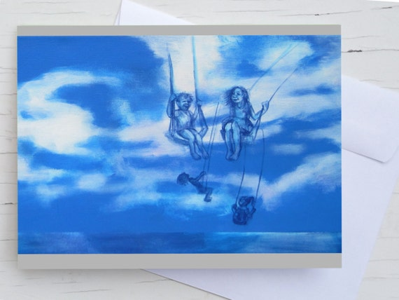 Greeting card child, fathers day, birthday card , congratulation card girl, postcard  sky, dreamy, blue, dream, friendship, card mom, dad