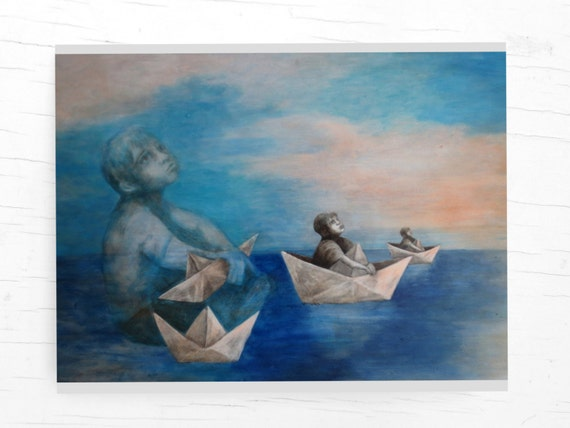 Greeting card, paper boats, maritime cards, postcard ship, for captains, wanderlust, for sailors, for travelers, for boys, for father, son