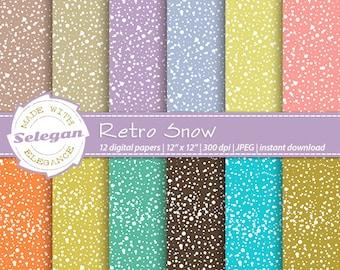 Retro Snow, Digital Paper, Scrapbooking, Paper, 12x12, Printable, Pattern, Snow, Texture, Winter, Snowfall, Retro, Background