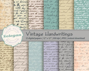 "custom handwriting ""Vintage Handwriting"" digital scrapbooking paper 12 inch old hand written font writing paper background"