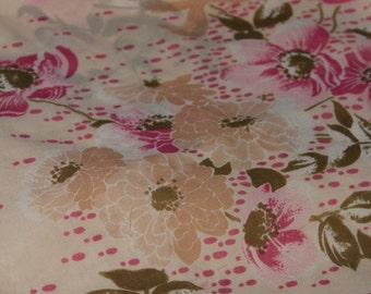 """Lovely Sheer Pink and Tan Floral Polyester Scarf --Pink Green Tan Daisy  Flower --  Made in Japan-- Approx 25"""" Square"""