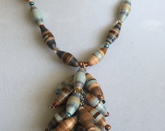 Unique paper bead necklace with earrings.