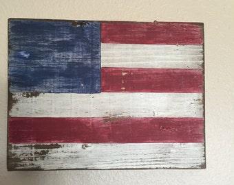 Rustic wood American flag- Medium