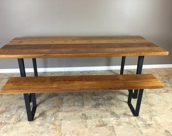 Modern Industrial Reclaimed Barn Wood Dining Table and Bench combo- Fabricated Flat Black Steel Legs- W/ E