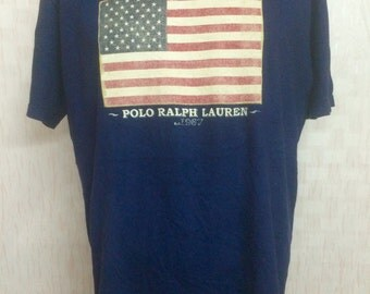 Vintage NOS Never Worn Polo Ralph Lauren USA Flag Tshirt Navy Blue Medium
