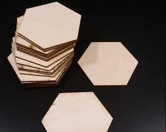 Set of 20 Blank Settlers of Catan Wooden Hex Tiles